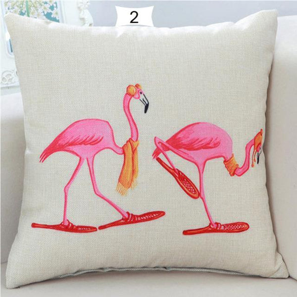 PinKart-USA Online Shopping 2 Home Decorative Square Flamingos Cushion Pillows Covers With Zipper Closure High Quality Office