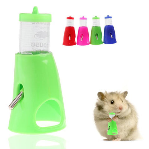 2 In 1 Hamster Water Bottle Holder 80Ml Dispenser With Base Hut Small Pet Nest -Y102