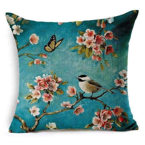 PinKart-USA Online Shopping 2 no filling / 45x45cm Birds Cushion Home Car Decorative Pillows Butterfly Almofada /Coussin / Linen Cojines Decoration
