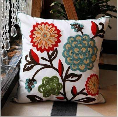 PinKart-USA Online Shopping 2 no filling Hot National Style Sofa /Carcushions Flowers And Fashion Pillows Decorate Hand-Embroidered