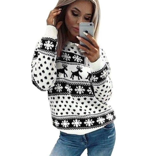 PINkart-USA Online Shopping 2 / S Autumn Knitted Sweater Winter Christmas Sweaters Warm Pullover Christmas Plaid Ladies Female