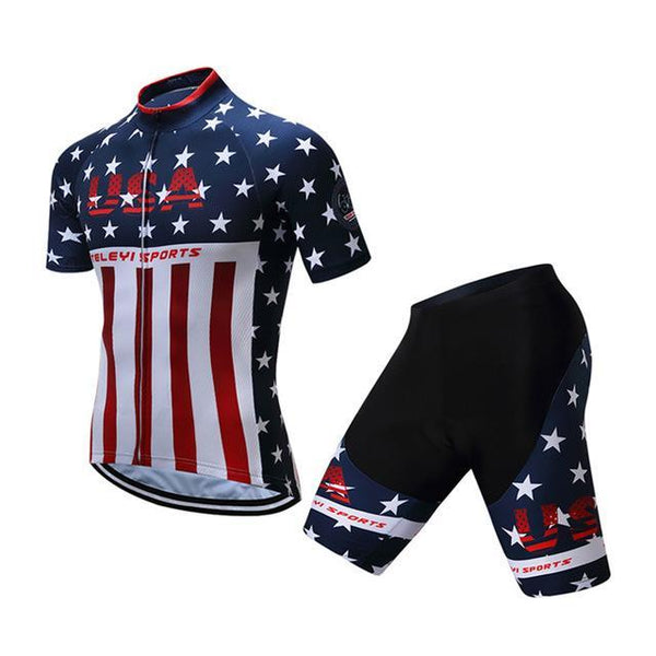 Teleyi Brand Pro Team Racing Sport Cycling Jersey Sets Men Usa Style Mtb Road Bike Jersey Quick Dry