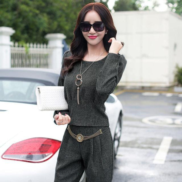 PINkart-USA Online Shopping 2 / S Women'S New Spring And Autumn Fashion Casual Trousers Set Female Large Long-Sleeved