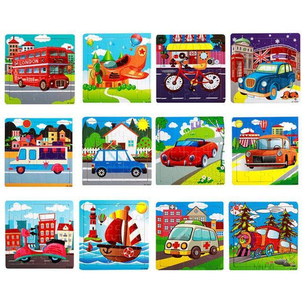 PINkart-USA Online Shopping 20 Pieces Transport Children Kids Cute Wooden Jigsaw Learning Education Cartoon Animal Puzzle Developmental Baby