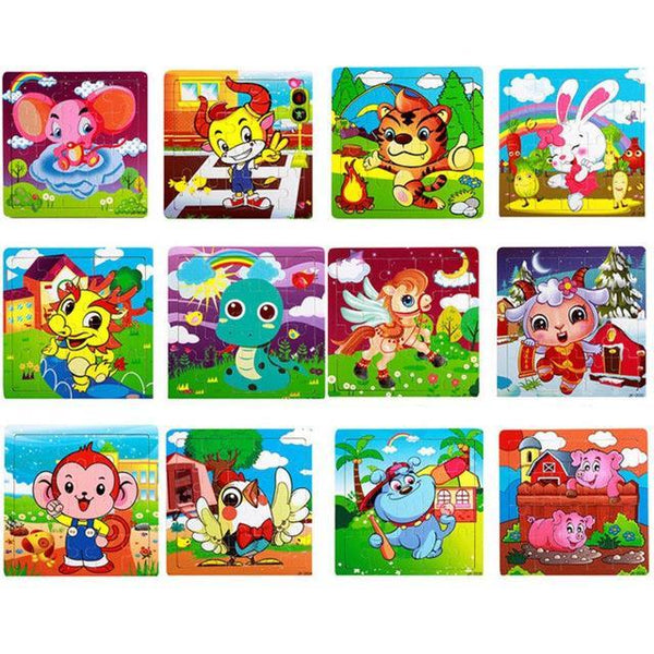 PINkart-USA Online Shopping 20 Pieces Zodiac Children Kids Cute Wooden Jigsaw Learning Education Cartoon Animal Puzzle Developmental Baby