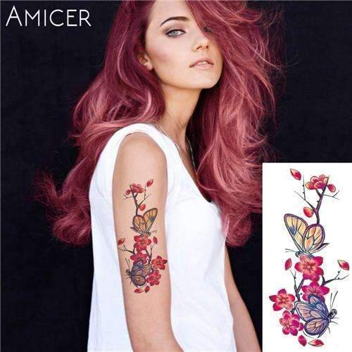 PinKart-USA Online Shopping 20 Rose Artificial Flowers Arm Shoulder Tattoo Stickers Flash Henna Tattoo Fake Waterproof Temporary
