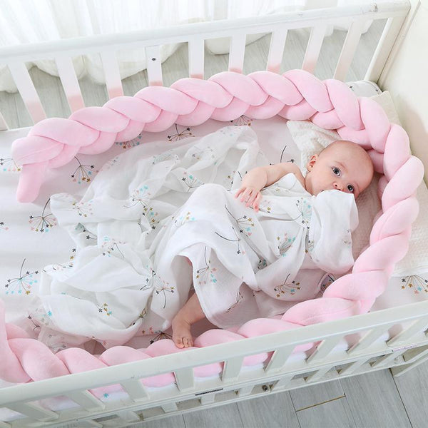 PINkart-USA Online Shopping 200Cm Length Baby Bed Bumper Pure Color Weaving Plush Baby Crib Protector For Newborns Baby Room