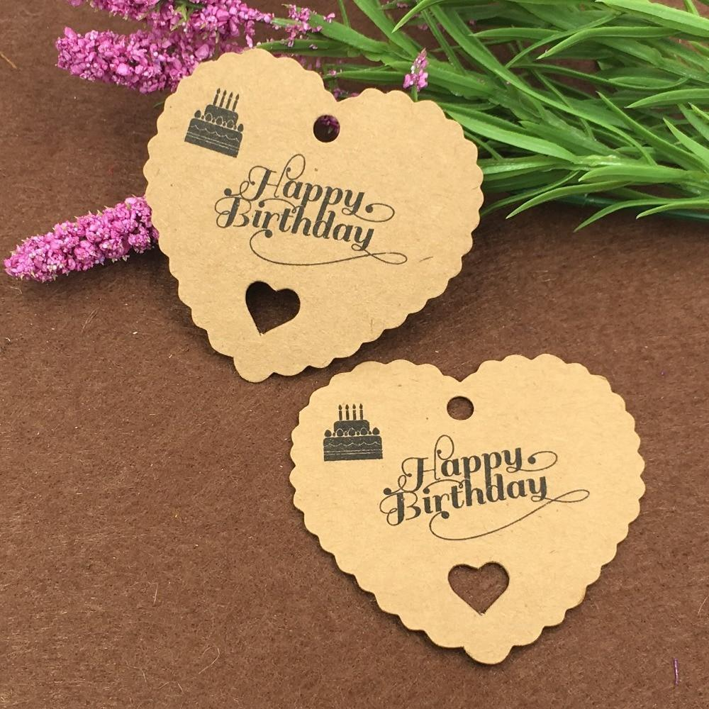 PINkart-USA Online Shopping 200Pcs Kraft Paper Tags Of Lovely Heart Shape For Diy Scrapbooking/Card Making/Wedding Decoration