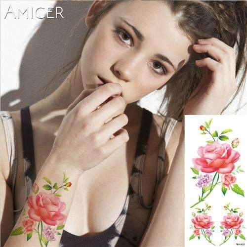 PinKart-USA Online Shopping 22 Rose Artificial Flowers Arm Shoulder Tattoo Stickers Flash Henna Tattoo Fake Waterproof Temporary