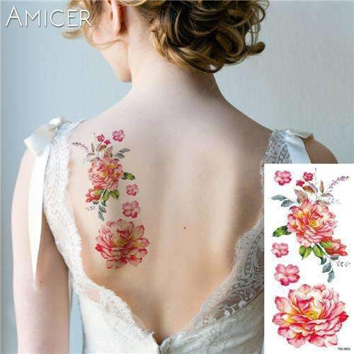 PinKart-USA Online Shopping 24 Rose Artificial Flowers Arm Shoulder Tattoo Stickers Flash Henna Tattoo Fake Waterproof Temporary