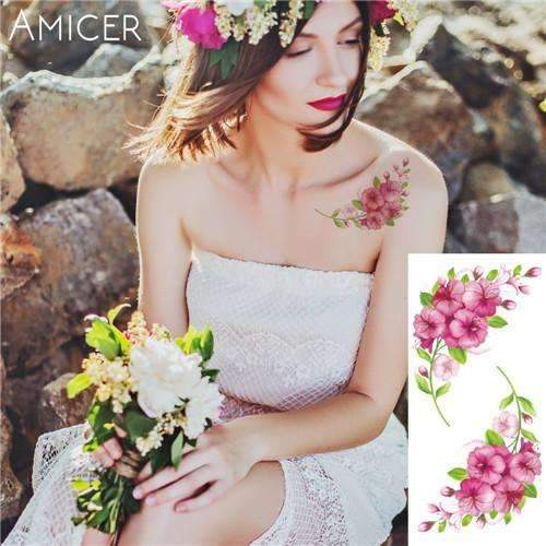 PinKart-USA Online Shopping 25 Rose Artificial Flowers Arm Shoulder Tattoo Stickers Flash Henna Tattoo Fake Waterproof Temporary