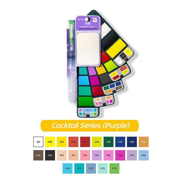 PINkart-USA Online Shopping 25Colors (Purple) Dainayw 42Colors Pigment Paints Set Solid Watercolor Set