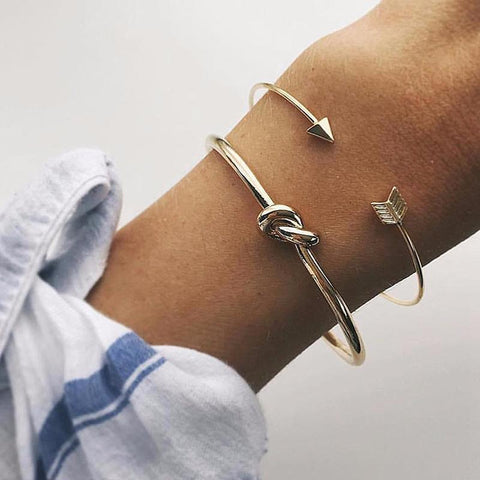 PINkart-USA Online Shopping 2Pcs/Set Alloy Simple Bangles Set Gold Color Open Arrow Knotted Charms Bracelet Jewelry