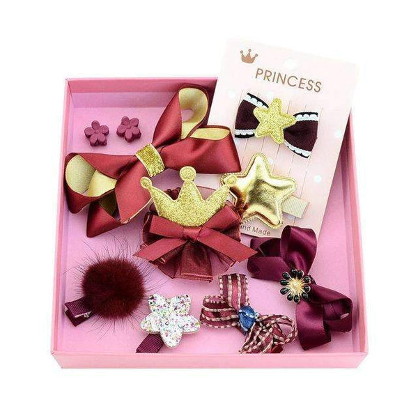 PinKart-USA Online Shopping 2red gold 1Set 10Pcs Fashion Different Designs Heart Flower Crown Fur Ball Stars Hair Bows With Clip Bow