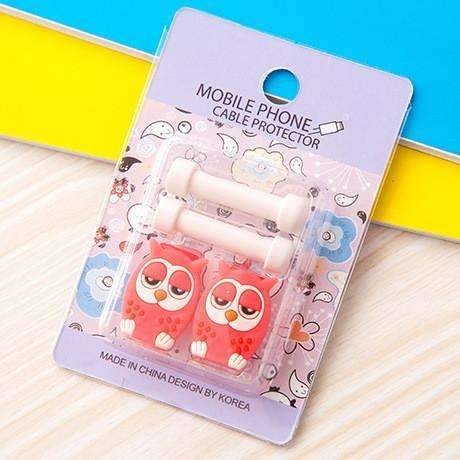 PinKart-USA Online Shopping 3 1Pc Fashion Cute Cartoon Usb Cable Protector Cover Case For Apple Iphone Android Charger Data