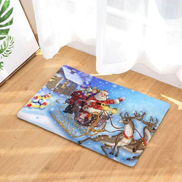 PINkart-USA Online Shopping 3 / 400mm x 600mm Hyha Xmas Mat Waterproof Anti-Slip Doormat Santa Claus Snow Carpets Bedroom Rugs Decorative Stair