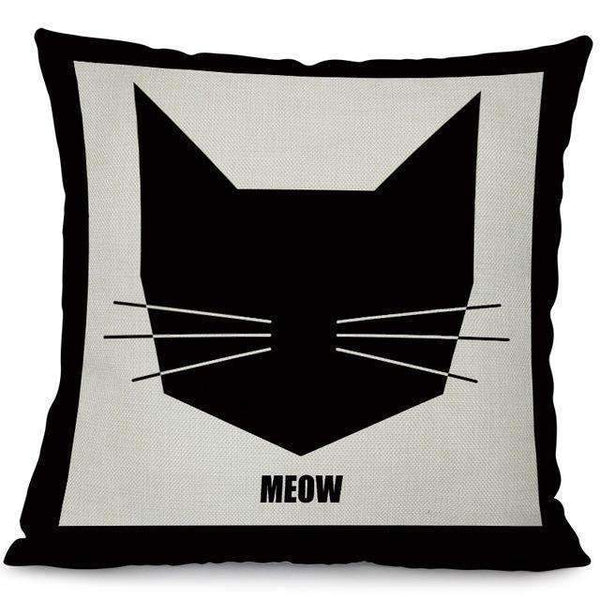 PinKart-USA Online Shopping 3 / 44x44cm No Filling Miracille Square Cotton Linen Black Climbing Cat Animals Printed Decorative Throw Pillows Home Deco