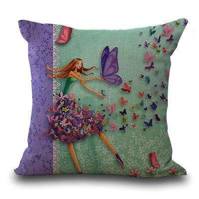 PinKart-USA Online Shopping 3 / 45x45cm Miracille Square 18 Flowers Girls Printed Cartoon Sofa Throw Cushions Butterfly Living Room
