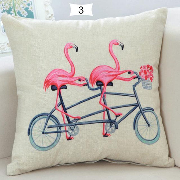 PinKart-USA Online Shopping 3 Home Decorative Square Flamingos Cushion Pillows Covers With Zipper Closure High Quality Office