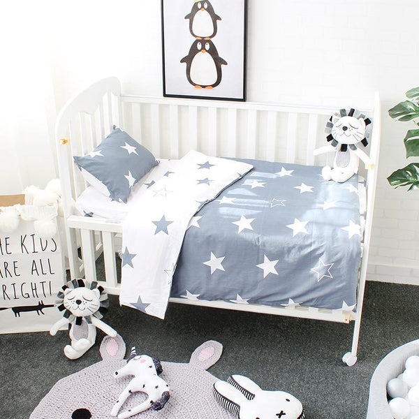 PINkart-USA Online Shopping 3 Pcs Baby Bedding Set Pure Cotton Bed Linen For Children Crib Kit Include Duvet Cover Pillowcase
