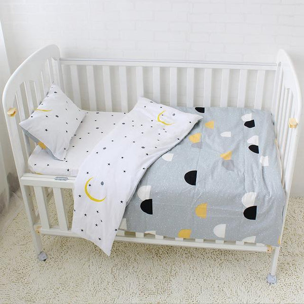 PINkart-USA Online Shopping Half Circle 3 Pcs Baby Bedding Set Pure Cotton Bed Linen For Children Crib Kit Include Duvet Cover Pillowcase