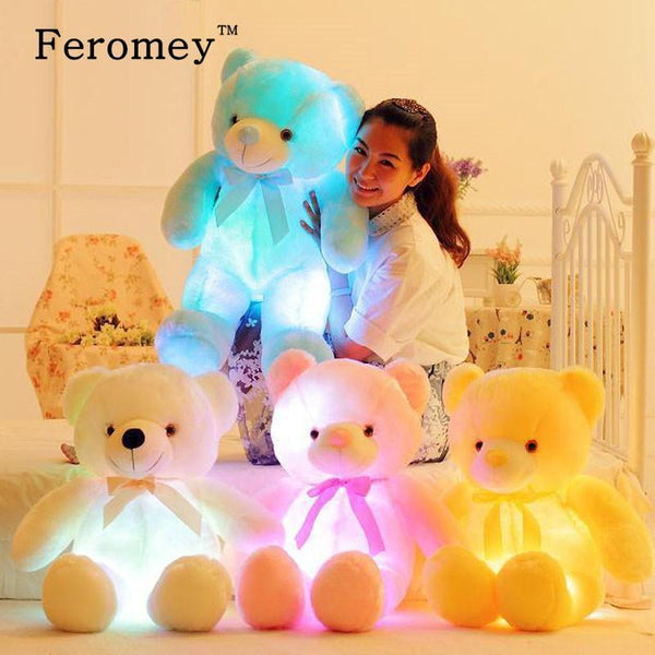 32/50Cm Big Colorful Glowing Teddy Bear Luminous Plush Toys Kawaii Light Up Led Teddy Bear