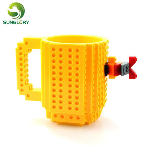 PINkart-USA Online Shopping 350Ml Build-On Brick Mug Diy Puzzles Mug Building Blocks Coffee Cup Creative Drinkware Bpa Free