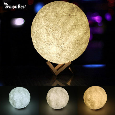 PINkart-USA Online Shopping 3D Magical Moon Led Night Light Moonlight Desk Lamp Usb Rechargeable 3 Light Colors Stepless For
