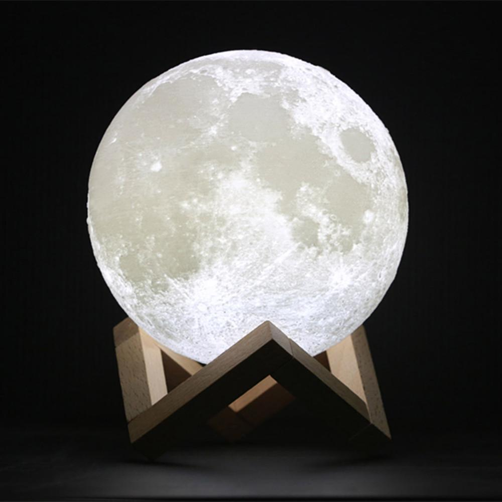 PINkart-USA Online Shopping 3D Print Moon Lamp 10Cm Rechargeable 2 Colors Pla Touch Switch Bedroom Bookcase Night Light