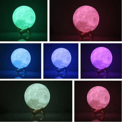 PINkart-USA Online Shopping 3D Print Moon Lamp Led Night Light Luna Magic Touch Full Moonlight Portable 7 Colors Change Baby