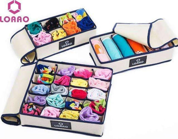 PinKart-USA Online Shopping 3pcs with cover Loaao 4 In 1 Per Set Foldable Storage Box Home Organizer Box Bins Bra Underwear Necktie Socks