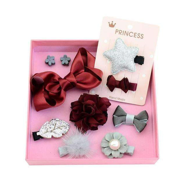 PinKart-USA Online Shopping 3red silver 1Set 10Pcs Fashion Different Designs Heart Flower Crown Fur Ball Stars Hair Bows With Clip Bow