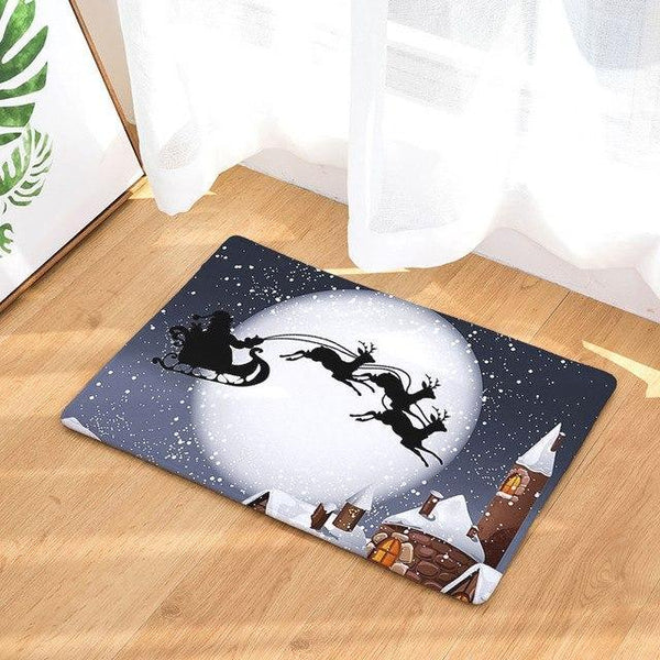 PINkart-USA Online Shopping 4 / 400mm x 600mm Hyha Xmas Mat Waterproof Anti-Slip Doormat Santa Claus Snow Carpets Bedroom Rugs Decorative Stair