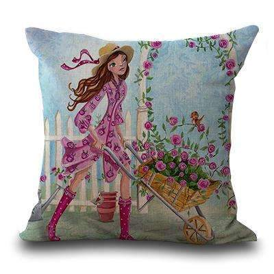 PinKart-USA Online Shopping 4 / 45x45cm Miracille Square 18 Flowers Girls Printed Cartoon Sofa Throw Cushions Butterfly Living Room