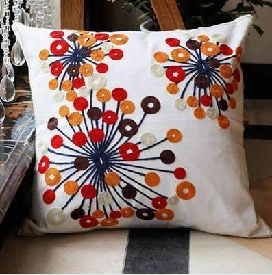 PinKart-USA Online Shopping 4 no filling Hot National Style Sofa /Carcushions Flowers And Fashion Pillows Decorate Hand-Embroidered