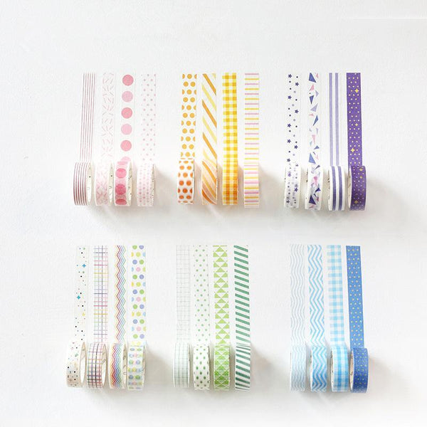 PINkart-USA Online Shopping 4 Pcs Basic Rainbow Paper Washi Tape Set 15Mm*7M Color Decoration Tape Masking Stickers
