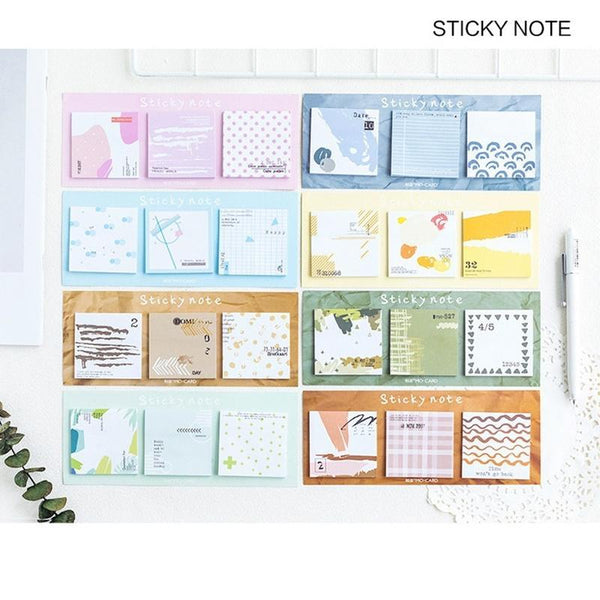 PINkart-USA Online Shopping 4 Pcs Spring Autumn Color Collage Sticky Note Forest Memo Pad Bookmark Index Sticker Stationery