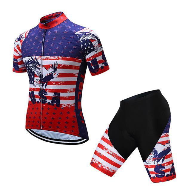 PINkart-USA Online Shopping 4 / S Teleyi Brand Pro Team Racing Sport Cycling Jersey Sets Men Usa Style Mtb Road Bike Jersey Quick Dry