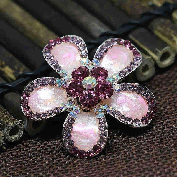 PinKart-USA Online Shopping 41mm 1 Fashion Simple Enamel Flower Brooches Pins Mix-Color Crystal Bouquet Jewelry Rose Gold-Color Clothe