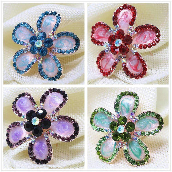 PinKart-USA Online Shopping 41mm Fashion Simple Enamel Flower Brooches Pins Mix-Color Crystal Bouquet Jewelry Rose Gold-Color Clothe