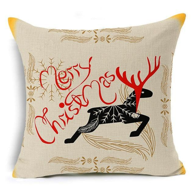 PINkart-USA Online Shopping 43x43 cm / 1 Merry Christmas! Cushion Cover Let It Snow Deer Xmas Santa Claus Socks Balloon Home Decorative