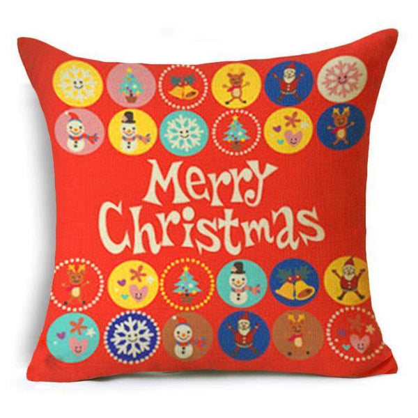 PinKart-USA Online Shopping 43x43 cm / 10 Hyha Let It Snow Xmas Style Cushion Cover Merry Christmas Santa Claus Socks Balloon Home Decorativ