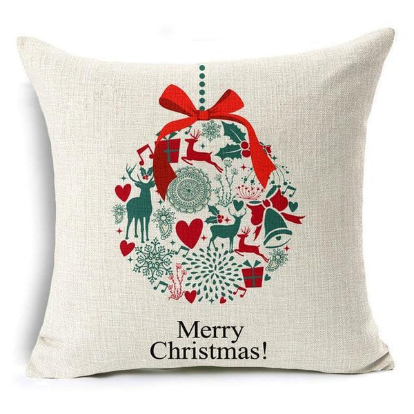 PINkart-USA Online Shopping 43x43 cm / 2 Merry Christmas! Cushion Cover Let It Snow Deer Xmas Santa Claus Socks Balloon Home Decorative