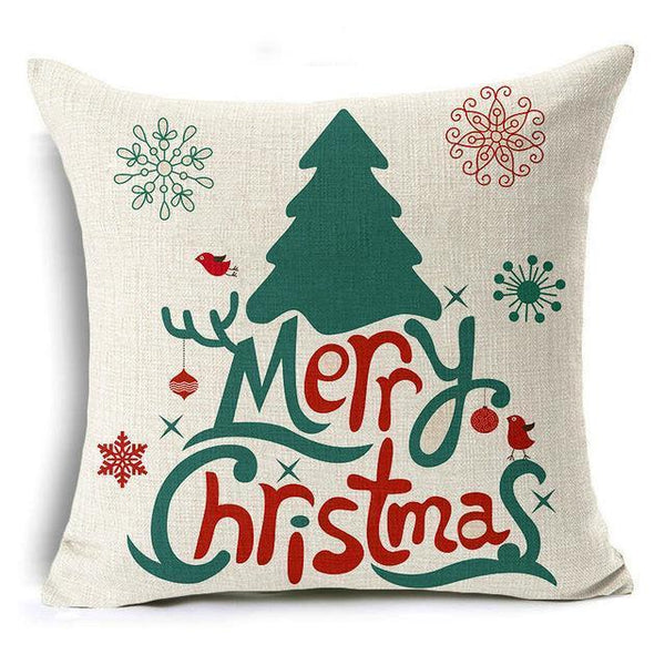 PinKart-USA Online Shopping 43x43 cm / 5 Hyha Let It Snow Xmas Style Cushion Cover Merry Christmas Santa Claus Socks Balloon Home Decorativ