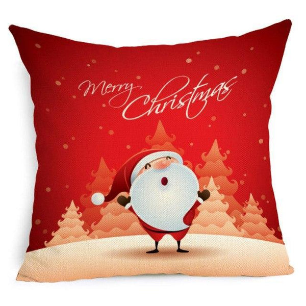 PINkart-USA Online Shopping 43X43cm / 1 Comwarm Square Home Decor Xmas Cushion Cover Cotton Linen Merry Christmas Pillowcase Santa Claus