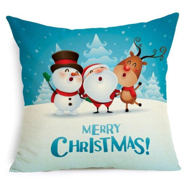 PINkart-USA Online Shopping 43X43cm / 11 Comwarm Square Home Decor Xmas Cushion Cover Cotton Linen Merry Christmas Pillowcase Santa Claus