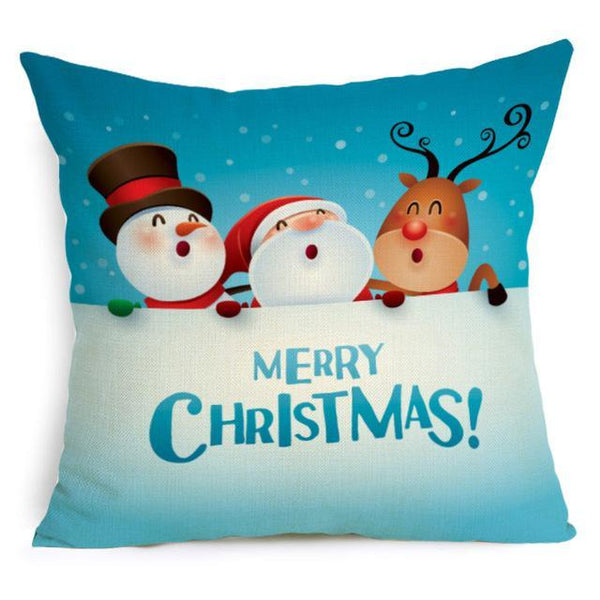 Comwarm Square Home Decor Xmas Cushion Cover Cotton Linen Merry Christmas Pillowcase Santa Claus