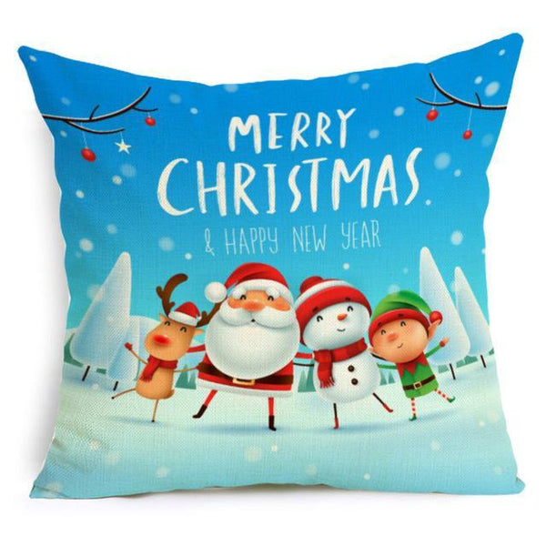 PINkart-USA Online Shopping 43X43cm / 13 Comwarm Square Home Decor Xmas Cushion Cover Cotton Linen Merry Christmas Pillowcase Santa Claus