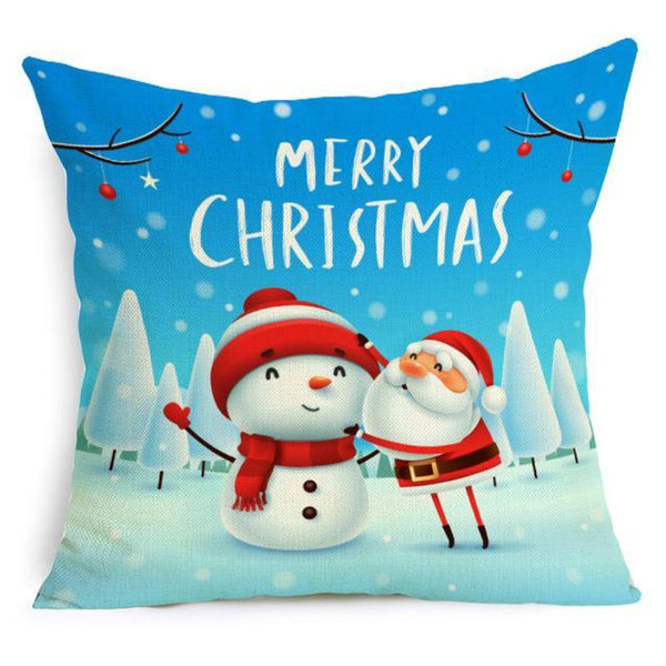 PINkart-USA Online Shopping 43X43cm / 14 Comwarm Square Home Decor Xmas Cushion Cover Cotton Linen Merry Christmas Pillowcase Santa Claus