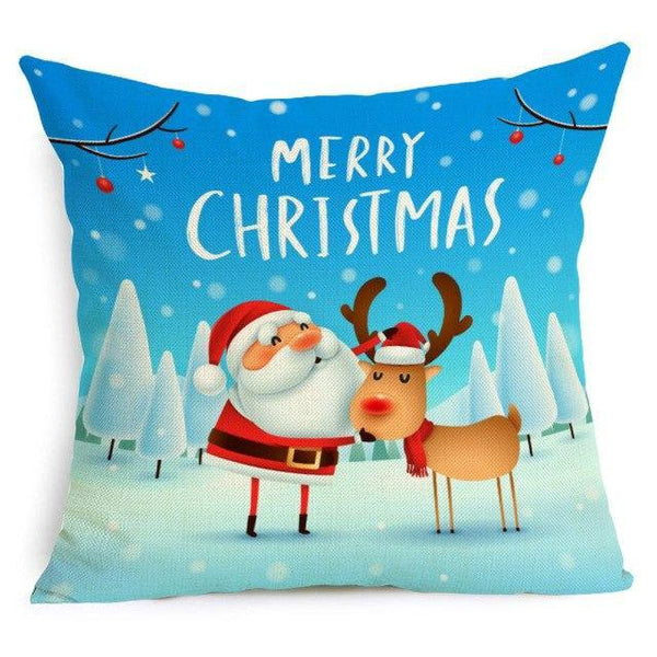 PINkart-USA Online Shopping 43X43cm / 15 Comwarm Square Home Decor Xmas Cushion Cover Cotton Linen Merry Christmas Pillowcase Santa Claus